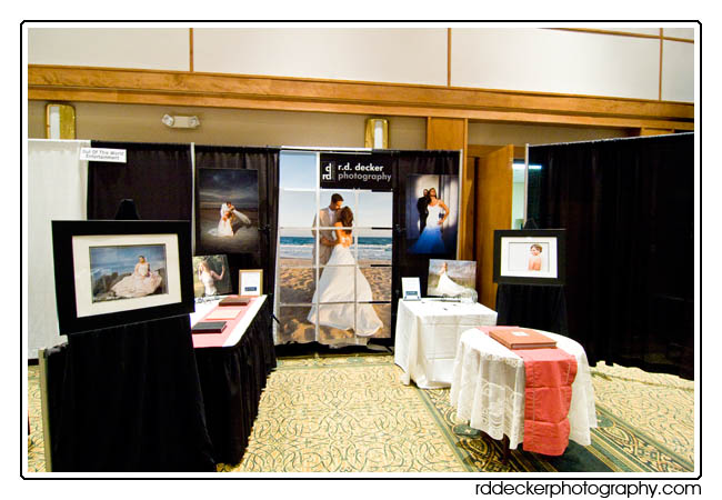 R. D. Decker Photography bridal show booth, New Bern, North Carolina.