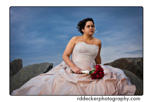 Bride on the Rock Jetty
